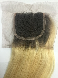 "Russian Platinum Straight Closure 14""-16"" no roots"